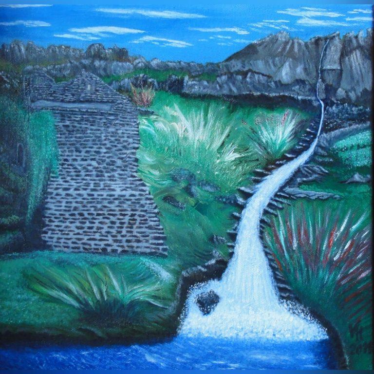 Burgruine mit Wasserfall