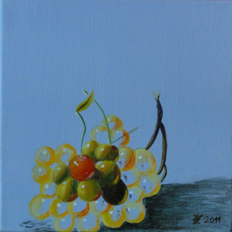 Kirsche auf Trauben