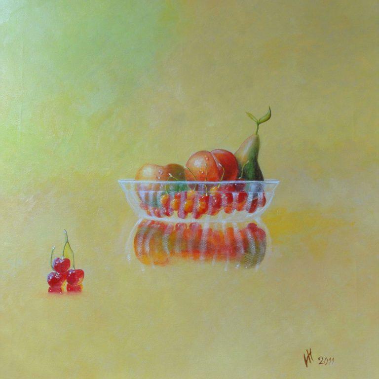 Glasschale mit Obst